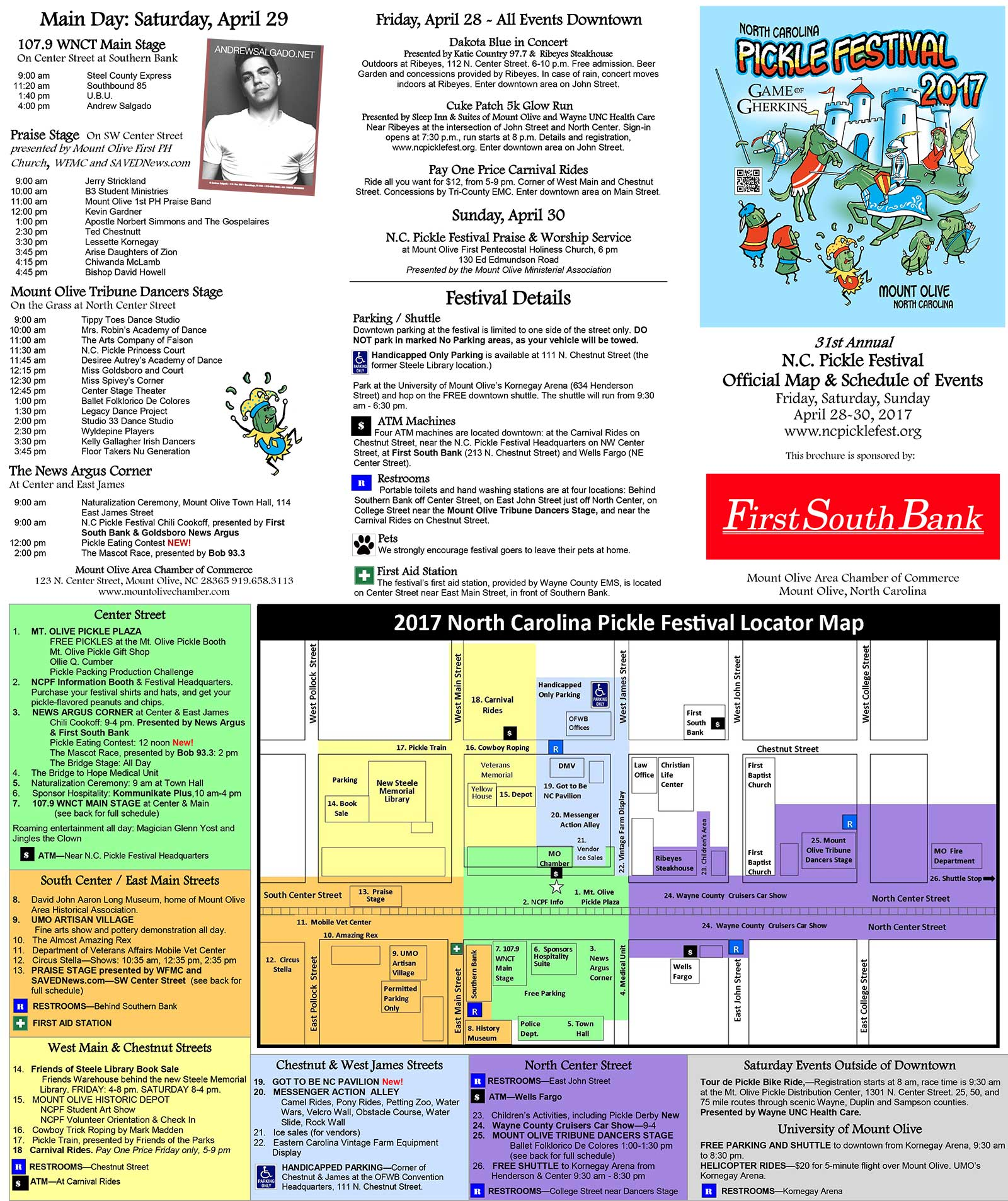 2017 North Carollina Pickle Festival Schedule and Map
